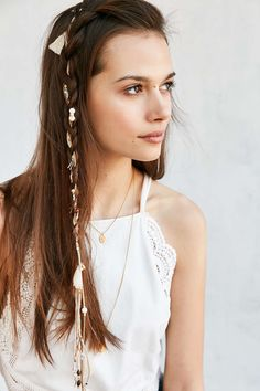 Suede Tassel + Charm Braid Clip Extension - Urban Outfitters