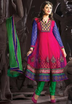 Rani Pink Net Anarkali Churidar Kameez Online Shopping: SLKSA36
