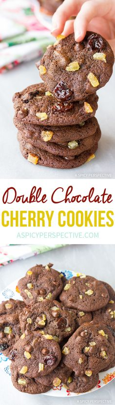 Soft Double Chocolate Cookies with Ginger and Cherries