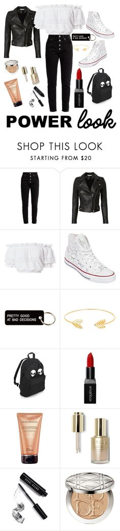 """My power look😄"" by life-is-to-short-to-not-sparkle ❤ liked on Polyvore featuring Balenciaga, IRO, LoveShackFancy, Converse, Various Projects, Lord & Taylor, Smashbox, Christian Dior, Stila and Bobbi Brown Cosmetics"