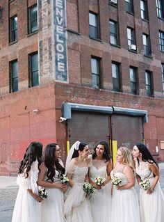 Bridesmaids in Mismatched White Dresses | Brides.com