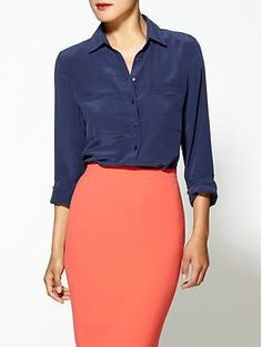 I love wearing a rich neutral like navy with a brighter more spring colored skirt