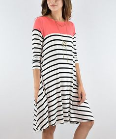 Another great find on #zulily! Coral Stripe Long-Sleeve Tunic #zulilyfinds