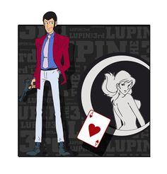 Lupin 3d lupin in rilievo con fondo fujco e asso di cuori