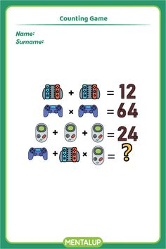 Just click on the pin and find more math printables to boost your skills!🥳 8th Grade Math Games, Counting Games, Brain Training Games, Brain Activities, Educational Games, Fun Workouts, Printables, Student, Exercise