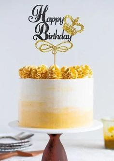 Exclusive Happy Birthday cake topper with a gold crown 60th Birthday Cake For Men, Golden Birthday Cakes, Yellow Birthday Cakes, Elegant Birthday Cakes, Happy Birthday Cake Images, Happy Birthday Cake Topper, Birthday Cake Decorating, Happy Birthday Cakes, Birthday Cake Design