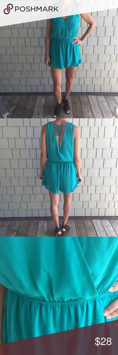 """ASTR Turquoise Ruffle Hem Romper NWT Ruffle hem Romper (Ruffle is @ the side of the bottom hem) in a beautiful bright shade of turquoise. Pull on style with a v-neck neckline and button closure at the chest.  Fully lined and a back tie detail.  Pair with wedges or sandals could add a blazer or Jean jacket.  Or pair with cowboys for any up coming country music concert.  Inseam measures ~2.75"""" chest measures ~19.5"""" armpit to armpit & length measures ~31"""".  Has and elastic waist band.  Don't…"""