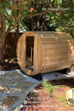 Nature + a barrel sauna never ceases to amaze us. Look how serene this spot is! A nice short walk to your calm space. ❤️ Find your own outdoor sauna here! Outdoor Sauna, Outdoor Decor, Barrel Sauna, Traditional Saunas, Infrared Sauna, Garden Bridge, Heaven, Calm, Space