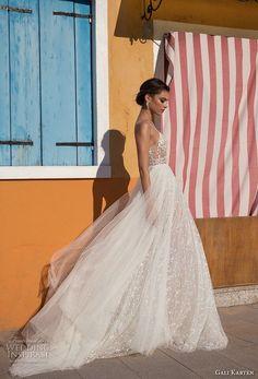 gali karten 2018 bridal spaghetti strap sweetheart neckline heavily embellished bodice high slit skirt romantic soft a line wedding dress sweep train (13) sdv -- Gali Karten 2018 Wedding Dresses