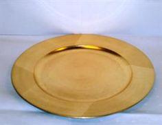 "JYLLAND - Dækketallerken - ""guld""(plast m/guldtryk) (24/26cm tall. ), 6,50 kr. pr. stk."