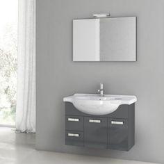 ACF by Nameeks ACF PH01-GA Phinex 32-in. Single Bathroom Vanity Set - Glossy Anthracite - ACF PH01-GA-