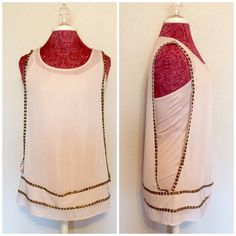 Studded Sheer Sleeveless Top with Built-In Tank In perfect condition. Open sleeves. Built in tank. Studs line the sleeves and bottom. Could easily fit a medium or extra small. Please use the offer button. No trades. Rock & Republic Tops Blouses