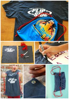 Make your own backpack out of an old tshirt! Achievement day, cub scouts, YW, kids, youth group activity project idea. A practical craft! Homemade personalized gift. tshirt remake deconstruction upcycle recycle DIY. Find out how HERE:  http://californiapixie.com/2012/08/09/backpack-brings-hope-to-old-tshirt/