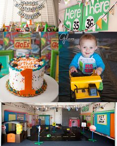 """Everything Goes"" theme ~ 1 Year Old Birthday Party! Huntington Beach Photographer, Newport Wedding, Newborn, and Family Portrait Photographers in Orange County, Cake Smash, Books, Happy Birthday, Cars, Toys, Creative, Cute, Props, One, Silly, Trucks, Streetlights, Cut Outs, Flags,Colorful, Balloon Animals, Train, Boy, Bday Hats, GIlmoreStudios.com"