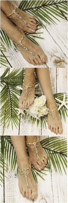 Barefoot sandals wedding, rhinestones, blue, wedding feet jewelry by Catherine Cole Studio LOVE IT <3 PIN FOR LATER!