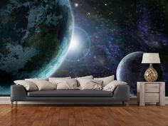 Blue Planet Earth wall mural room setting