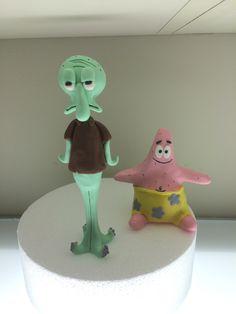 Patrick and Squiddy Spongebob cake topper fondant