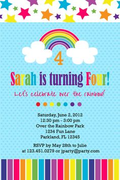 Items Similar To Rainbow Birthday Party Invitation Invite Printable Or Printed On Etsy