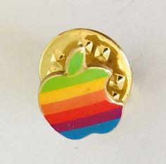 Apple Brand Logo Rainbow Small Lapel Pin Badge Rare Vintage (J8)    eBay