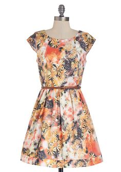 Bubbly Bouquet Dress in Orange - Short, Woven, Multi, Floral, Belted, Casual, A-line, Cap Sleeves, Good, Scoop, Exposed zipper, Pleats, Vari...