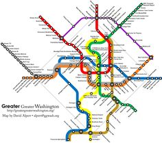 How amazing would this be!!!! - WMATA MetroRail Fantasy Map by David Alpert, 2008