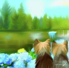 Yorkies Painting - Yorkies At The Lago Negro by Catia Cho