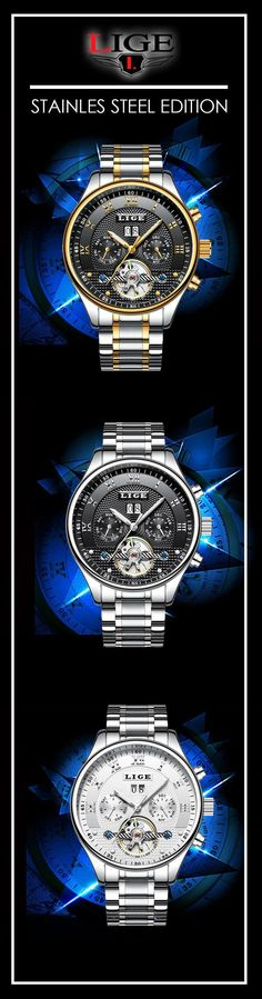 men's stainless steel automatic luxury watches - Lige mechanical timepiece watch - Men's fashion brand style affordable accessories #menswatches #watches #mensfashion #menswear