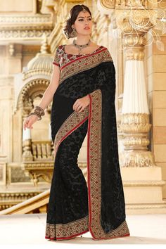 Pavitraa Fashion  Dazzling Diva Black Embroidered Saree shop online  SKU : PTR-7007 Best Price : 2610 Contact name: Pavitraa Fashion Co No : 7698234040