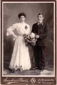 Edwsrdian wedding photo. I like the hand-on-hip pose of the bride. I get the feeling she was in charge in tjat marriage!