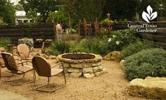 What I want for a base and fire pit Decomposed granite patio and fire pit - Donna and Mike Fowler, Hutto garden, Central Texas Gardener Decomposed Granite Patio, Crushed Granite, Texas Landscaping, Fire Pit Essentials, Outside Fire Pits, Drought Tolerant Landscape, Landscape Edging, Dry Creek, Fire Pit Backyard
