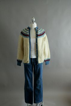 Rare Vintage Hand Knit Norwegian Wool Cardigan by CreamColoredPony