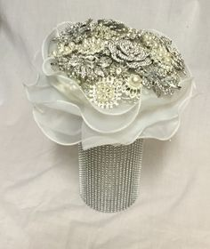 Brooch bouquet and brooch bouquet stand! stunning.