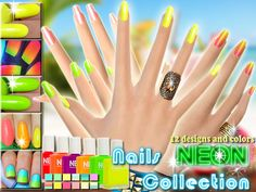 Neon Nails Summer Collection by Pinkzombiecupcakes at TSR via Sims 4 Updates