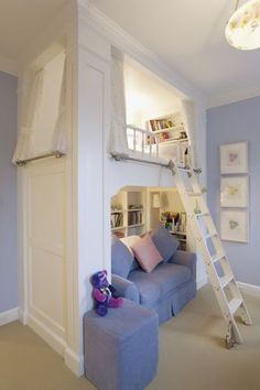 I really am loving the idea of having the bed up high and making use of the space below it. I'm seeing a lot of examples for this. If I happen to have high ceilings where ever I settling I really hope to remember this. I also like out fitting the upper bed part as a closed in space with window dressings, and how the lower parts usually have built in book shelves.