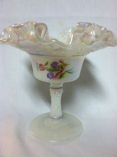 Glass Signed Helpful Fenton Burmese Compote/candy Dish On Pedestal