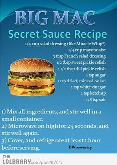 Copycat Big Mac Sauce .. I use Kraft Miracle Whip, Hellman's mayonnaise, Wishbone Deluxe French salad dressing, Heinz sweet pickle relish and Vlasic dill pick relish.  The recipe makes approximately 1 cup of sauce which is enough for about 8 homemade Big Macs.