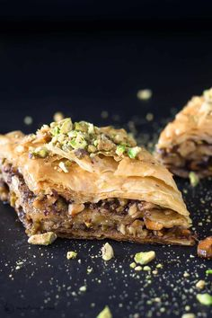 Hands-down the BEST baklava recipe you'll find! Expert tips and step-by-step tutorial for how to make it! Honey-soaked flaky phyllo pastry with a delicious nut mixture nestled in between. Make Ahead Desserts, Just Desserts, Party Desserts, Delicious Desserts, Best Baklava Recipe, Greek Baklava, Cookie Recipes, Dessert Recipes, Baking Recipes