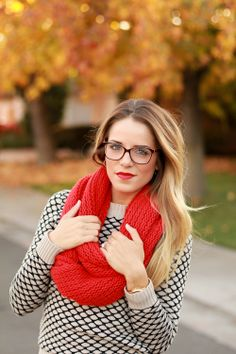 sweater + red scarf