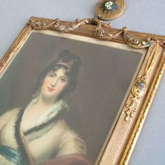 Antique GILT Wood Frame Barbola CAMEOS Drapes ROSE SWAGS Mezzotint LADY Proof