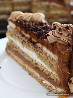 Croatian cake - egg whites and walnuts with buttercream and chocolate Albanian Recipes, Bosnian Recipes, Croatian Recipes, Sweet Desserts, Sweet Recipes, Baking Recipes, Cake Recipes, Russian Cakes, Kolaci I Torte