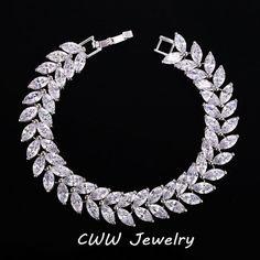 Trova più Braccialetti di fascino Informazioni su 2015 gioielli di lusso design unico aaa + swiss zircone cubico forma di foglia vintage sposa wedding bracelet