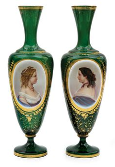 A pair of Bohemian green glass portrait vases, each of baluster form on a footed base and with trumpet necks, overlaid in white with a hand painted portrait cartouche of a women alternating on each, framed with further applied gilt enameling and a patterned ground   c.1880