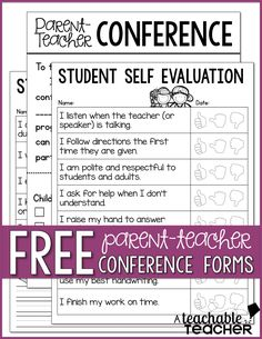 What a great idea!  FREE forms for parent teacher conferences.