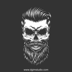 Hipster hairstyle look. Vector custom design of the skull. Created with the Skull creator. Click to the link and find a way how to create your own design of  the Skull. Thousands of combinations!   #beard #mustache #skull #vectorillustration #vector #illustration #design #tshirt #apparel #appareldesign #dgimstudio