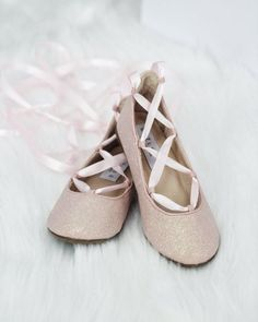 Infant & Toddler girl shoes -PINK fine glitter ballerina flats with satin ribbon lace up