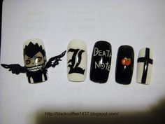Silence is Loud: Requested: Death Note nails Grunge Nails, Swag Nails, Death Note, Hot Nails, Hair And Nails, Anime Nails, Galaxy Nails, Nail Ring, Cool Nail Designs