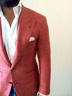 Men's Fashion. Style. Red Blazer. White Shirt. Denim. Casual Chic. Handsome.