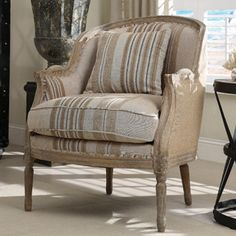 Striped Linen French Bergere Chair  This is the style of chair I'm looking to redo