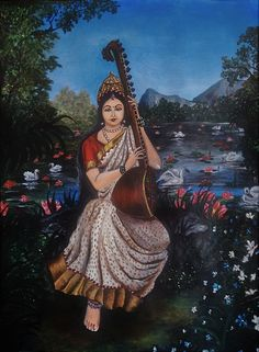 Saraswati- Goddess of knowledge and arts by Tara Krishna Saraswati Painting, Tanjore Painting, Maa Durga Image, Saraswati Goddess, Durga Images, Lord Vishnu Wallpapers, Acrylic Painting On Paper, Divine Mother, Mythical Creatures Art