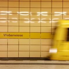 U Bahn Metro Station Weberwiese In Beriln Germany Yellow Colours